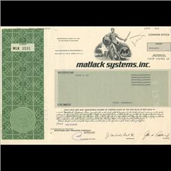 1980s Matlack Systems Stock Certificate Scarce (COI-3428)