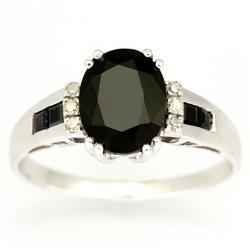 3.06Ct Black Sapphire & Diamond White 9K Gold Ring (JEW-9013X)
