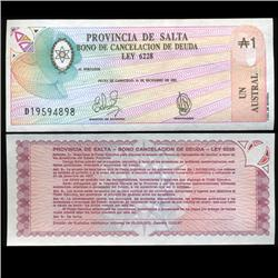 1986 Argentina 1 Australes San Juan Emergency Note Crisp Uncirculated (CUR-05568)