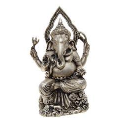 Vintage Ganesh Bronze Nickel Statue  (ANT-695)