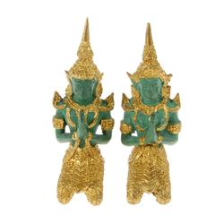 Male & Female Bronze Gilded Temple Guards (CLB-268)
