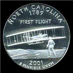 2001S US NC Silver Quarter Graded PCGS PR69 DCAM (COI-5436)