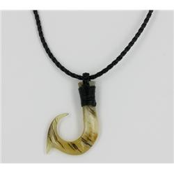 Rare White Buffalo Horn Hawaiian Fishhook Pendant Choker (JEW-1410)