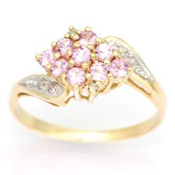 0.96Ct Pink Sapphire & Diamond Yellow 9K Gold Ring (JEW-9100X)