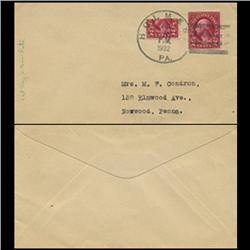 1932 US RARE First Day of 3c Rate Change Cover Using Bisected 2c (STM-0625)