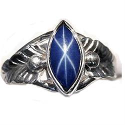 2.22 ct Marquise Cabochon Blue Star Sapphire Sterling Ring Size 7.5  (JEW-1818)