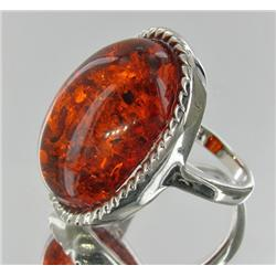 68ct Baltic Amber White Gold Vermeil Ring (JEW-1784)