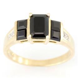 1.84Ct Black Sapphire & Diamond Ring 9K Gold (JEW-9153X)