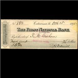 1895 FNB Catawissa PA Cashiers Check (COI-3266)