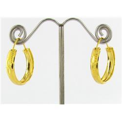 """22k Gold Vermeil Earrings 3/4"""" (JEW-1601)"""