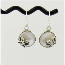 Sterling Mother of Pearl Butterfly Earrings (JEW-1403)