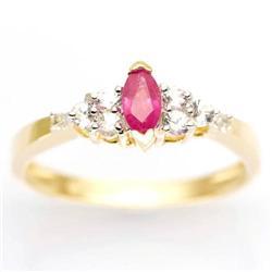 0.85Ct Ruby , White Sapphire & Diamond 9K Gold Ring (JEW-9072X)