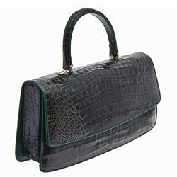 Ladies Dark Green Crocodile Handbag (ACT-133)