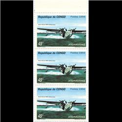 1994 Congo 45f Hydroplane Block of 3 Mint (STM-0651)