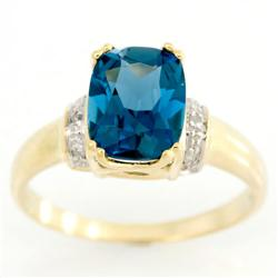 2.86Ct London Blue Topaz & Diamond 9K Gold Ring (JEW-9045X)
