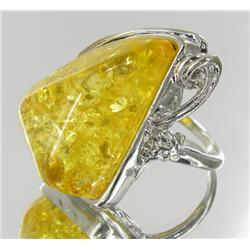 74ct Baltic Amber White Gold Vermeil Ring (JEW-1789)