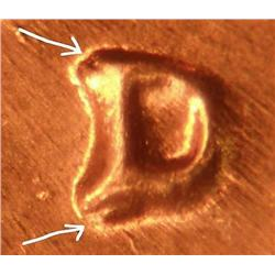 1960D/D Repunched Mintmark Lincoln Cent BU Unlisted Rare (COI-3652)