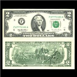 1995 $2 US Note Crisp Uncirculated SCARCE Poker Hands Fancy Serial # (CUR-06038)