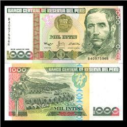 1988 Peru 1000 Intis Crisp Uncirculated Note (CUR-05934)