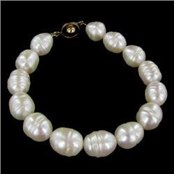 Saltwater Baroque White Pearl Bracelet (JEW-250A)