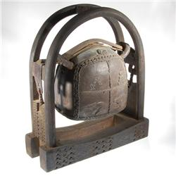 Large Bronze Temple Bell In Teak And Bamboo Stand (CLB-053)