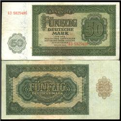 1948 East Germany 50 Mark Note Hi Grade Rare Variety (COI-3944A)