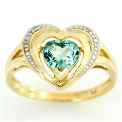 1.14Ct Heart Green Topaz & Diamond 9K Gold Ring (JEW-9119X)
