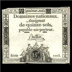 1792 France RARE 15 Sols Assignat Currency AU+ (CUR-05886)