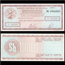 1984 Bolivia 100000 Bolivianos Crisp Uncirculated Note (CUR-05720)