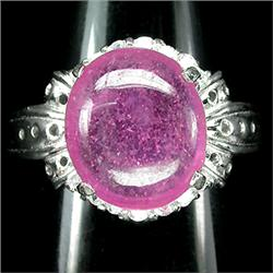 30.46ct Delightful Real Top Rich Pink Ruby & CZ Sterling Ring   (JEW-1854)