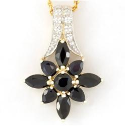 2.80Ct Black Sapphire & 10 Diamond 9K Gold Pendant (JEW-9085X)