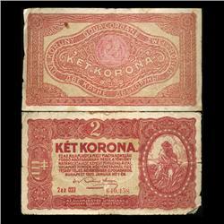 1920 Hungary 2 Korona Note Circulated Scarce (CUR-05740)