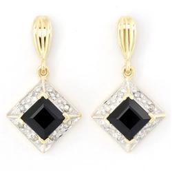 2.16Ct Black Sapphire & 16 Diamond 9K Gold Earrings (JEW-9032X)