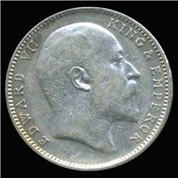 1907B India Silver Rupee High Grade Rare Variety (COI-6637)