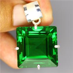 81.15ct Sterling Pendant Baguette Top Green Amethyst  (JEW-1796)