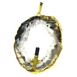 71ct Carved Druzy Agate Tourmaline Pendant Super Sparkler Gold Vermeil (JEW-1743)