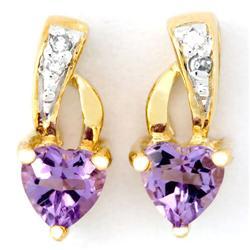 0.68Ct Heart Amethyst & Diamond Earrings 9K Gold (JEW-9143X)