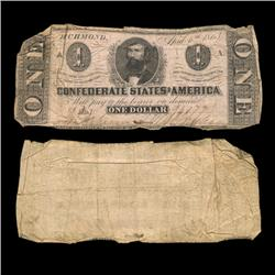 1863 Confederate Dollar Scarce Issue Circulated (COI-4569)