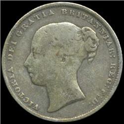 1866 Britain Victoria Shilling Better Grade (COI-7042)