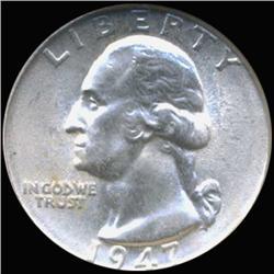1947 Washington 25c Silver Quarter Coin Graded GEM (COI-6816)