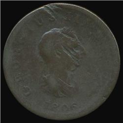 1806 Britain George III Half Penny Circulated (COI-7079)