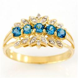 1.14Ct London Blue Topaz & 14 Diamond 9K Gold Ring (JEW-9151X)