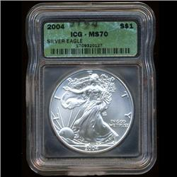 2004 Eagle $1 Silver Coin MS70 ICG   (COI-3154)