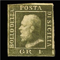 1859 RARE Italy Sicily 1g Postal Stamp Hi Grade MINT (STM-0209)