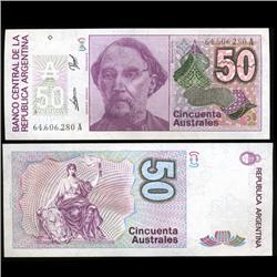 1989 Argentina 50 Australes Note Crisp Uncirculated RARE (CUR-05566)