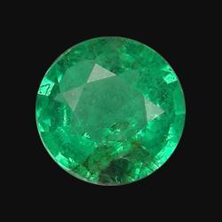 0.6ct Natural Mint Green Zambian Emerald Round  (GEM-20652)