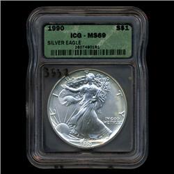 1990 Silver Eagle ICG Top Graded (COI-3537)