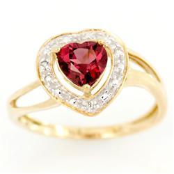1.15Ct Heart Rhodolite & Diamond 9K Gold Ring (JEW-9126X)
