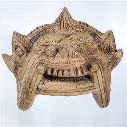 Vintage Hand Carved Clay Yak Mask (ANT-123)