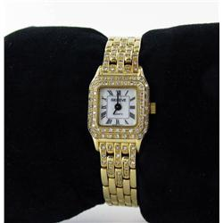 Ladies Solid 14k Gold Geneve Watch With 96 White Diamonds (WAT-164)